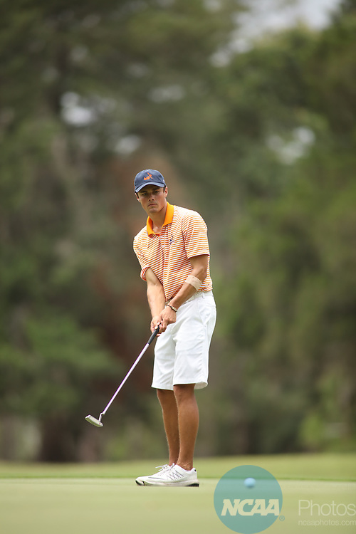 HOWEY IN THE HILLS, FL - MAY 19: Ben Kramer of Hope College makes a putt during the Division III Men's Golf Championship held at the Mission Inn Resort and Club on May 19, 2017 in Howey In The Hills, Florida. (Photo by Cy Cyr/NCAA Photos via Getty Images)