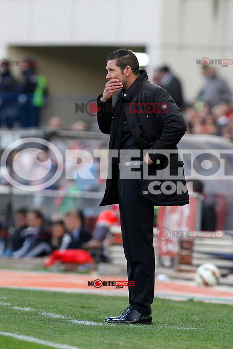 Atletico de Madrid´s coach Diego Pablo Simeone during La Liga match at Vicente Calderon stadium in Madrid, Spain. April 07, 2015. (ALTERPHOTOS/Victor Blanco) /NORTEphoto.com