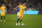 June 13th 2017, Melbourne Cricket Ground, Melbourne, Australia; International Football Friendly; Brazil versus Australia; Trent Sainsbury of Australia running with the ball