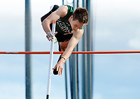 Madison Memorial's Peter Sorge takes first place in the pole vault with a height of 13 feet, six inches during the Wisconsin WIAA Division 1 high school track and field regional on Monday, 5/20/19 at Middleton High School