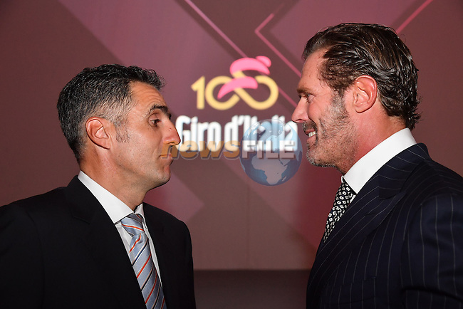 Former Champion Miguel Indurain and the record holder of most stage victories at the Giro with 42, Mario Cipollini at the 100th edition Giro d`Italia 2017 route presentation held at the Ice Palace in Milan, 25th October 2016.<br /> Picture: ANSA/Claudio Peri   Newsfile<br /> <br /> <br /> All photos usage must carry mandatory copyright credit (&copy; Newsfile   ANSA/Claudio Peri)