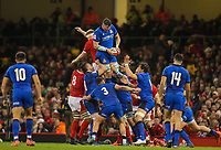 1st February 2020; Millennium Stadium, Cardiff, Glamorgan, Wales; International Rugby, Six Nations Rugby, Wales versus Italy; Sebastian Negri of Italy takes the line out ball