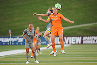 Amy Rodriguez (8) of the Philadelphia Independence and Christie Rampone (3) of Sky Blue FC go up for a header. The Philadelphia Independence defeated Sky Blue FC 2-1 during a Women's Professional Soccer (WPS) match at John A. Farrell Stadium in West Chester, PA, on June 6, 2010.