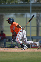 Baltimore Orioles Roderick Bernadina (92) during a minor league spring training game against the Boston Red Sox on March 18, 2015 at the Buck O'Neil Complex in Sarasota, Florida.  (Mike Janes/Four Seam Images)