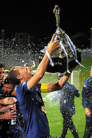 Auckland City captain Angel Berlanga celebrates winning the ISPS Handa Premiership football final between Auckland City FC and Team Wellington at QBE Stadium in Albany, New Zealand on Sunday, 1 April 2018. Photo: Dave Lintott / lintottphoto.co.nz