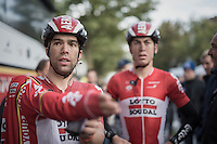 Jens Debusschere (BEL/Lotto-Soudal) &amp; Jelle Wallays (BEL/Lotto-Soudal) post-finish<br /> <br /> Tour de l'Eurom&eacute;tropole 2016 (1.1)<br /> Poperinge &rsaquo; Tournai (196km)/ Belgium