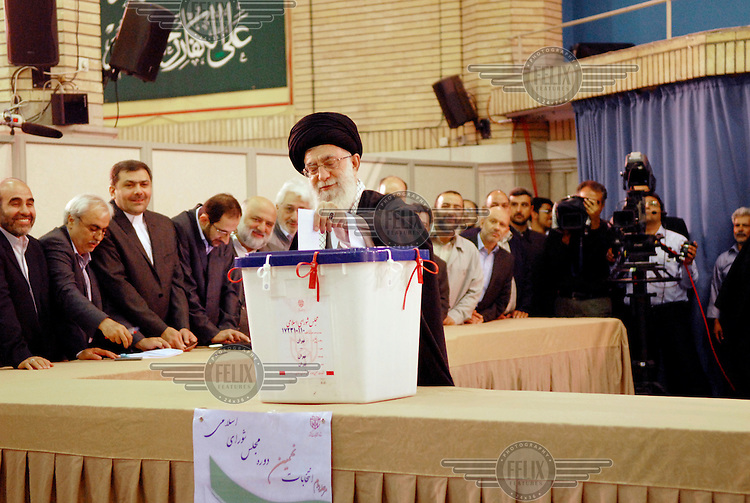 The Iranian leader Seyed Ali Khamenei posts his vote duting the Iran Congress election in Tehran.