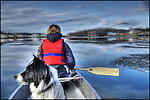 canoing through spring ice on Yellowknife Bay