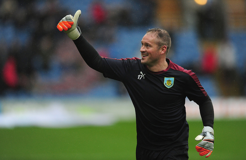 Burnley&rsquo;s Paul Robinson during the pre-match warm-up <br /> <br /> Photographer Chris Vaughan/CameraSport<br /> <br /> Football - The Football League Sky Bet Championship - Burnley v Hull City - Saturday 6th February 2016 - Turf Moor - Burnley <br /> <br /> &copy; CameraSport - 43 Linden Ave. Countesthorpe. Leicester. England. LE8 5PG - Tel: +44 (0) 116 277 4147 - admin@camerasport.com - www.camerasport.com