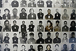 Mug shots of prisoners are on display at the Tuol Sleng prison in Phnom Penh, Cambodia. The Khmer Rouge were as meticulous as the Nazis in documenting their crimes. Every one of the 17,000 political prisoners who passed through Tuol Sleng were photographed upon their arrival. All but a handful were brutally interrogated for months, made to confess to a list of often imaginary political crimes and later murdered in the infamous Killing Fields. From the resigned and forlorn looks on the faces of these victims, it is evident that many of them sensed what their fate would be. March 1, 2012.