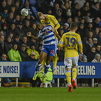 Leeds United's Pontus Jansson (right) battles with Reading's Yakou Meite (left) <br /> <br /> Photographer David Horton/CameraSport<br /> <br /> The EFL Sky Bet Championship - Reading v Leeds United - Tuesday 12th March 2019 - Madejski Stadium - Reading<br /> <br /> World Copyright © 2019 CameraSport. All rights reserved. 43 Linden Ave. Countesthorpe. Leicester. England. LE8 5PG - Tel: +44 (0) 116 277 4147 - admin@camerasport.com - www.camerasport.com