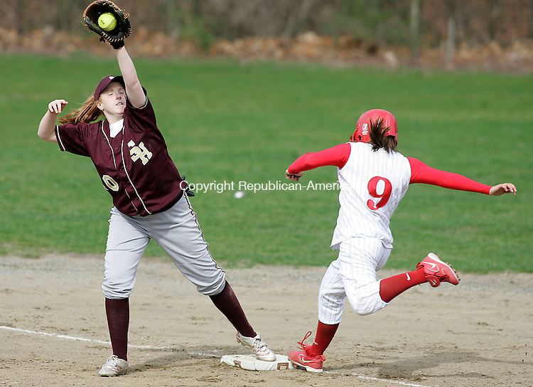 WATERBURY, CT - 26 APRIL 2007 - 042607JW08.jpg -- Sacred Heart #20 Sarah O'Brien makes the out against Wolcott #9 Nicole Ouellette during Sacred Hearts loss to Wolcott 18-0 at Municipal Stadium Thursday afternoon. Jonathan Wilcox Republican-American