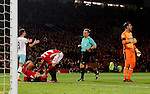 Zlatan Ibrahimovic of Manchester United lies injured following a studs up challenge from Adrian of West Ham United during the English League Cup Quarter Final match at Old Trafford  Stadium, Manchester. Picture date: November 30th, 2016. Pic Simon Bellis/Sportimage