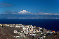 San Sebastian, Blick auf Teide auf Teneriffa, Gomera, Kanarische Inseln, Spanien
