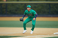 Notre Dame Fighting Irish first baseman Daniel Jung (31) on defense against the Wake Forest Demon Deacons at David F. Couch Ballpark on March 10, 2019 in  Winston-Salem, North Carolina. The Fighting Irish defeated the Demon Deacons 8-7 in 10 innings in game two of a double-header. (Brian Westerholt/Four Seam Images)