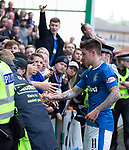 13.05.2018 Hibs v Rangers: Josh Windass hands his boots to the fans