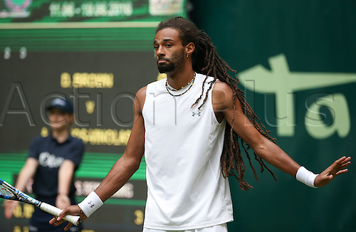 14.06.2016. Halle, North Rhine-Westphalia, Germany, Gerry Webber open Tennis tournament.  Dustin Brown from Germany in action against Albert Ramos-Vinolas from Spain during the ATP Tournament in Halle, Germany, 14 June 2016.