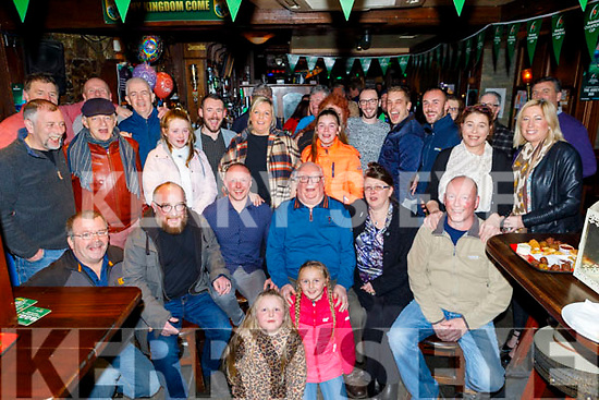 Friends gather with the Leen family in the Abbey Inn on their closing night as the bar closes after 51 years. <br /> Seated l to r: Manus, Danny Jnr, Danny, Sandra and Terry Leen