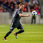 Real Salt Lake forward Corey Baird (27) controls the ball in the second half Saturday, April 21, 2018, during the Major League Soccer game at Rio Tiinto Stadium in Sandy, Utah. RSL beat the Colorado Rapids 3-0. (© 2018 Douglas C. Pizac)