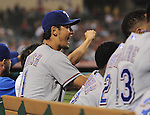 Yu Darvish (Rangers),<br /> AUGUST 6, 2013 - MLB :<br /> Yu Darvish of the Texas Rangers cheers with his teammates in the dugout during the Major League Baseball game against the Los Angeles Angels at Angel Stadium in Anaheim, California, United States. (Photo by AFLO)