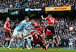 Martin Demichelis of Manchester City directs a header towards goal during the Barclays Premier League match at The Etihad Stadium. Photo credit should read: Simon Bellis/Sportimage