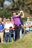 Reinier Saxton (NED) on the 18th tee during Round 2 of the KLM Open at Kennemer Golf &amp; Country Club on Friday 12th September 2014.<br /> Picture:  Thos Caffrey / www.golffile