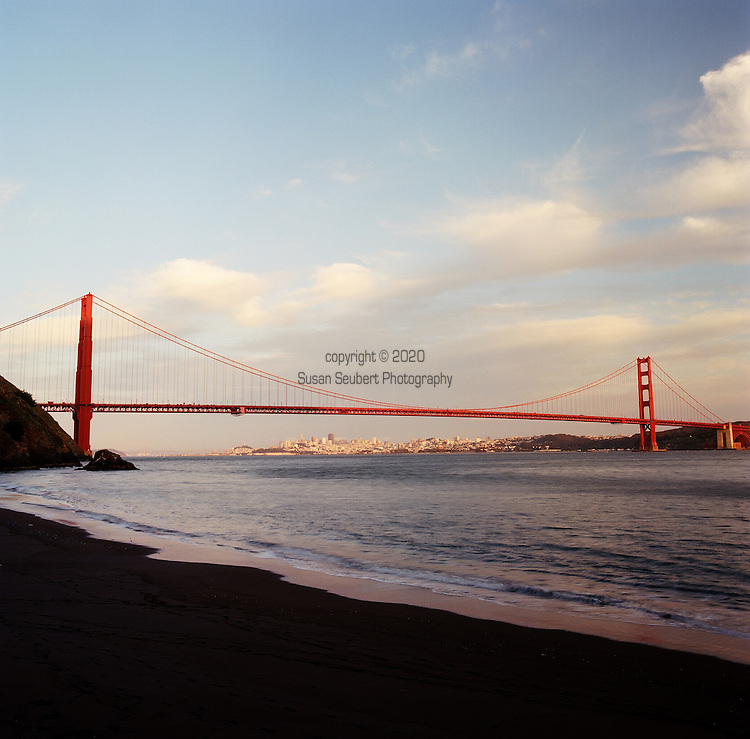 The view of the Golden Gate Bridge and downtown San Francisco from Kirby Cove, a campground in the Marin Headlands