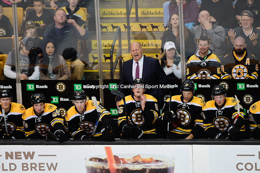 Thursday, October 20, 2016: Boston Bruins head coach Claude Julien reacts to game action during the Boston Bruins home opener against the New Jersey Devils held at TD Garden, in Boston, Mass. The Bruins defeat the Devils 2-1 in regulation time. Eric Canha/CSM