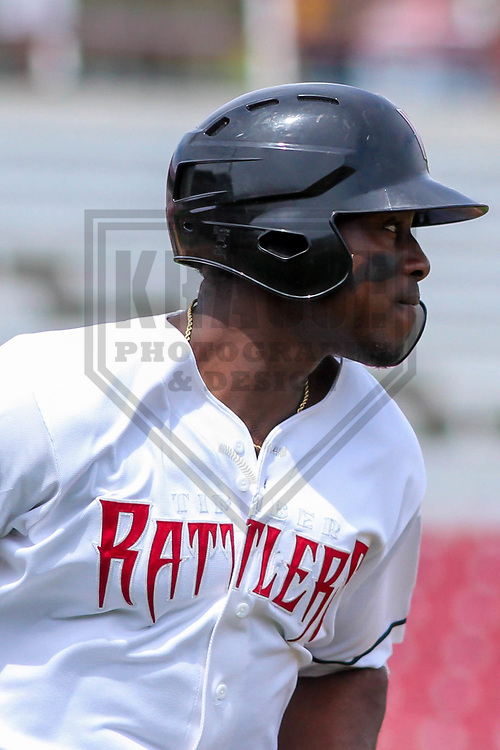 Wisconsin Timber Rattlers outfielder Demi Orimoloye (6) during a Midwest League game against the Lansing Lugnuts on May 8th, 2018 at Fox Cities Stadium in Appleton, Wisconsin. Lansing defeated Wisconsin 11-4. (Brad Krause/Krause Sports Photography)