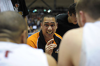 Sharks coach Paul Henare talks to his team during the national basketball league match between Wellington Saints and Southern Sharks at TSB Bank Arena, Wellington, New Zealand on Friday, 5 July 2013. Photo: Dave Lintott / lintottphoto.co.nz