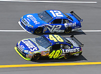 Apr 25, 2008; Talladega, AL, USA; NASCAR Sprint Cup Series driver Jimmie Johnson (48) races alongside Ryan Newman (12) during practice for the Aarons 499 at Talladega Superspeedway. Mandatory Credit: Mark J. Rebilas-US PRESSWIRE