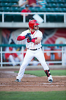 Orem Owlz first baseman Connor Fitzsimons (14) at bat during a Pioneer League game against the Ogden Raptors at Home of the OWLZ on August 24, 2018 in Orem, Utah. The Ogden Raptors defeated the Orem Owlz by a score of 13-5. (Zachary Lucy/Four Seam Images)