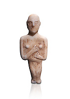 Post canonical female ancient Greek Cycladic figurine, Late Ccladic priod  II to Cycladic period III (2500-2000 BC)Museum of Cycladic Art Athens, cat no 312,  Against white.