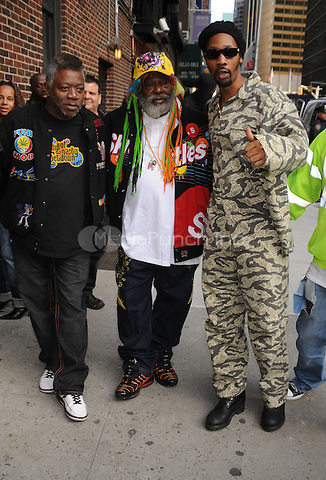 RZA and George Clinton at the Ed Sullivan Theatre for an appearance on The Late Show with David Letterman. New York City. October 27, 2008. Credit: Dennis Van Tine/MediaPunch