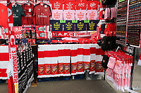 Arsenal v Standard Liege scarves for sale on the market stalls outside the ground during Arsenal vs Standard Liege, UEFA Europa League Football at the Emirates Stadium on 3rd October 2019