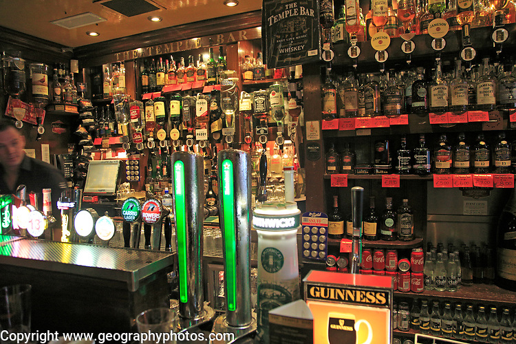 Beer pumps and bar display inside the Temple Bar pub, Dublin city centre, Ireland, Republic of Ireland