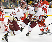 Patrick Brown (BC - 23), Bill Arnold (BC - 24) - The Boston College Eagles defeated the Boston University Terriers 3-2 (OT) in their Beanpot opener on Monday, February 7, 2011, at TD Garden in Boston, Massachusetts.