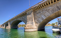 The Lonon Bridge built in 1831 was sold at auction and purchased by Robert McCulloch and shipped to Lake Havasu City Arizona.  The bridge was completed in 1971 and is now a turist atraction.