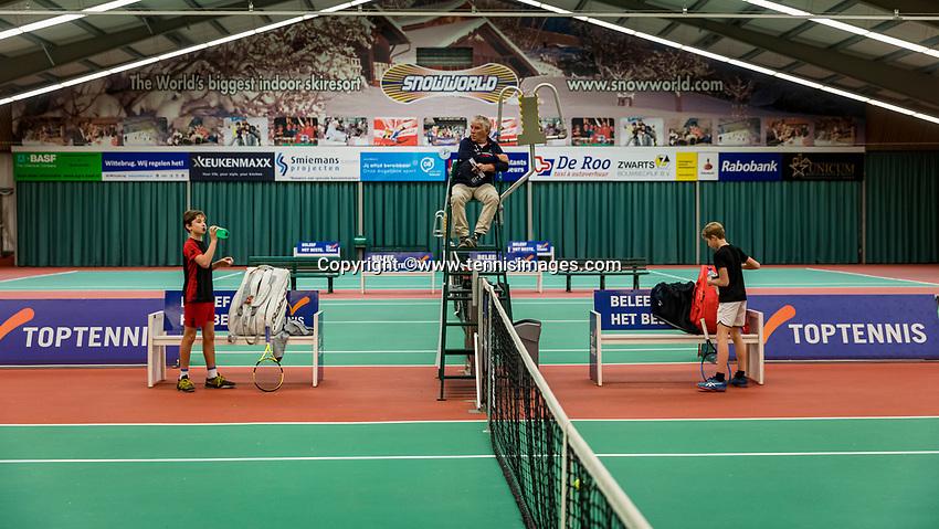 Wateringen, The Netherlands, December 1,  2019, De Rhijenhof , NOJK 12 and16 years, Mees Röttgering (NED) and Thijs Boogaard (R) (NED)<br /> Photo: www.tennisimages.com/Henk Koster