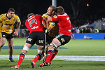 NELSON, NEW ZEALAND - MAY 29:   Richie McCaw of the Crusaders goes high on James Broadhurst of the Hurricanes during the Round 16 Super Rugby match between the Crusaders and the Hurricanes at Trafalgar Park on May 29, 2015 in Nelson, New Zealand. (Photo by Marc Palmano/Shuttersport Limited)
