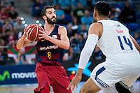 Real Madrid's player Gustavo Ayon and FC Barcelona Lassa's player Pau Ribas during the match of the semifinals of Supercopa of La Liga Endesa Madrid. September 23, Spain. 2016. (ALTERPHOTOS/BorjaB.Hojas)