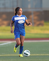Boston Breakers forward Sydney Leroux (2) looks to pass. In a National Women's Soccer League (NWSL) match, Boston Breakers (blue) tied Western New York Flash (white), 2-2, at Dilboy Stadium on August 3, 2013.