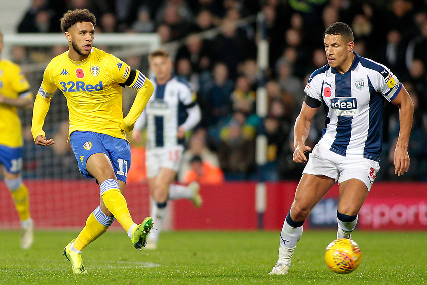 Leeds United's Tyler Roberts gets away from West Bromwich Albion's Jake Livermore<br /> <br /> Photographer David Shipman/CameraSport<br /> <br /> The EFL Sky Bet Championship - West Bromwich Albion v Leeds United - Saturday 10th November 2018 - The Hawthorns - West Bromwich<br /> <br /> World Copyright © 2018 CameraSport. All rights reserved. 43 Linden Ave. Countesthorpe. Leicester. England. LE8 5PG - Tel: +44 (0) 116 277 4147 - admin@camerasport.com - www.camerasport.com
