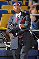 6 February 2010:  FIU Basketball Head Coach Isiah Thomas observes his players in the second half as the North Texas Mean Green defeated the FIU Golden Panthers, 68-66, at the U.S. Century Bank Arena in Miami, Florida.