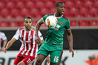 12th March 2020, Pireas, Greece; Europa League football, Olympiakos versus Wolves;  Willy Boly of Wolverhampton turns away with the ball