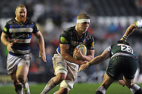 Tom Ellis of Bath Rugby takes on the Leicester Tigers defence. Aviva Premiership match, between Leicester Tigers and Bath Rugby on November 29, 2015 at Welford Road in Leicester, England. Photo by: Patrick Khachfe / Onside Images