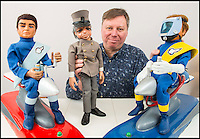 BNPS.co.uk (01202 558833)<br /> Pic: TomWren/BNPS<br /> <br /> Duncan Willis with his Scott and Virgil Tracey on hoverbikes and his signed Parker.<br /> <br /> A Thunderbirds fanatic who always dreamt of owning an original Parker puppet now earns a living making them for fellow fans.<br /> <br /> Duncan Willis, 59, made his first puppet 15 years ago and his hobby has grown into a business where he creates puppets of the show's best-loved characters including Parker, Lady Penelope and Jeff Tracy. <br /> <br /> Mr Willis makes and sells about 20 Thunderbirds puppets a year at his home in Whiteley, Hampshire, together with elaborate props for them because he doesn't want them to be stood 'with a rod up their backside'. <br /> <br /> The puppets, which measure between 19 and 23in, take him four to six weeks to craft and cost in the region of &pound;900.