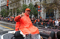 SAN FRANCISCO, CA - OCTOBER 31:  Dave Dravecky of the San Francisco Giants waves to the fans on Market Street during the World Series parade on Friday, October 31, 2014 in San Francisco, California. Photo by Brad Mangin