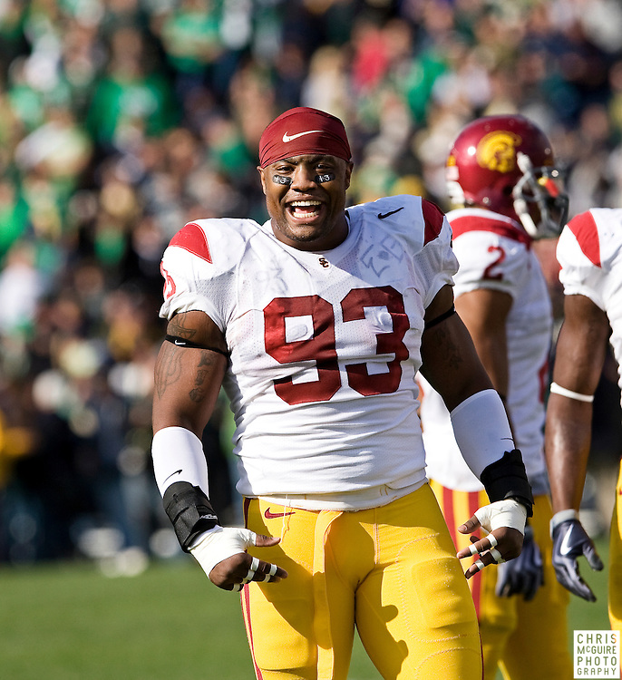10/17/09 - South Bend, IN:  USC defensive end Everson Griffen gets ready for their game at Notre Dame Stadium on Saturday.  USC won the game 34-27 to extend its win streak over Notre Dame to 8 games.  Photo by Christopher McGuire.