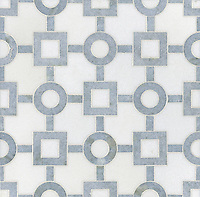 Marlene, a stone water jet mosaic, shown in Celeste and Thassos, is part of the Ann Sacks Beau Monde collection sold exclusively at www.annsacks.com